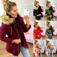 bayanlar fermuarlı kapşonluklar toptan satış-2019 Kadınlar Parka Moda Sonbahar Kış Sıcak ceketler Kadınlar Kürk Yaka Palto Cep Kapüşonlular Ofis Lady Pamuk Coats Artı Boyutu Zip