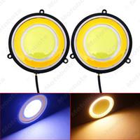 focos de tornillo al por mayor-82mm coche COB DRL LED redonda Luz corriente diurna del coche de la luz blanca Amarillo Encienda la luz DRL # 939