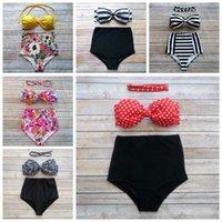Wholesale bowknot swimwear online - Women Bikini Styles Bowknot High Waist Padded Bra Bikini Set Floral Printed Swimwear Swimsuit OOA6702