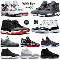 serin erkekler basketbol ayakkabıları toptan satış-Yeni 2020 Cactus Jack Gri 4 4s Soğuk Bred Ne Basketbol Ayakkabıları 11 11'leri Concord 45 Gama Mavi Space Jam Erkek Spor Sneakers ile Kutusu