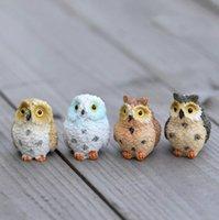 ingrosso vasi da giardino della resina-Simpatici Gufi Animali Figurine Resina Miniature Figurina Artigianale Bonsai Vasi Casa Fata Giardino Ornamento Decorazione Terrario Decor