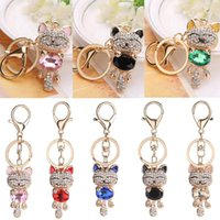 Wholesale cat crystal keychains resale online - 7 Styles Lucky Smile Cat Keychain Crystal Keyrings Purse Gemstone Kitten Pendant Bag Car Keychains Fashion Jewelry Key Ring