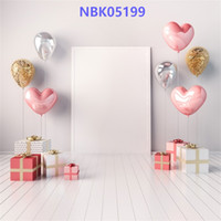 Wholesale baby portrait photography online - Laeacco Baby Balloons Gift Birthday Party Gray Wooden Floor Child Portrait Photo Backgrounds Photography Backdrops Photo Studio