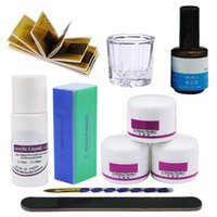 Wholesale top light nails online - Acrylic Powder Manicure Nail Kit ml Acrylic Liquid Nail Kit French Tips File Glass Cup Form Top Gel Kit For Manicure Tools Set