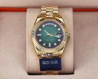 calendários watchbands venda por atacado-luxo verde mans relógio 38mm calendário semana série 118238 pulseira de ouro homem de luxo relógios de alta qualidade movimento automático safira waterp