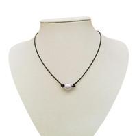 collar de cordón negro de las mujeres al por mayor-Venta al por mayor de las mujeres cordón de cuero negro solo perla colgante gargantilla collar joyería