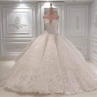 Wholesale off shoulder lace for wedding dress for sale - Group buy Vestido De Noiva Ball Gown Designer Wedding Dresses Off The Shoulder Cathedral Train Lace Appliques Bridal Gown For Church Custom Made