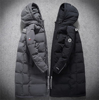 Wholesale fashion mens down jackets for sale – warmest winter New Mens Designer Down Jacket Winter Coat Jackets Men North Brand Blcack Gray Men Outdoor Fashion Hooded Thicken Long section