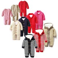 barboteuses de velours bébé achat en gros de-Détail hiver nouveau-né Noël coton velours épais Rompers combinaison tricotée une pièce bébé onesies combinaisons enfants vêtements de marque