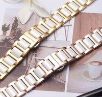 engrenagem ativa venda por atacado-Borboleta fivela pulseira de metal mix de cerâmica para samsung galaxy watch 42 46mm banda ativa gear s2 s3 ticwatch 1 2 e pulseira pro