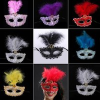 Wholesale pink feather mask for sale - Group buy Fashion Sexy Lace Sequins Patch Half Face Feather Mask Gift for Halloween Christmas Masquerade Party Decoration Articles