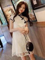 vestido de novia chino tradicional blanco al por mayor-2019summer girls White Hollow tallado vestido de encaje estilo chino vestidos de princesa qipao bordado tradicional vestido de boda del partido