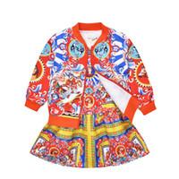 çiçek kız eşofman toptan satış-2019 Kız Ceket Elbise Set Moda Sonbahar Toddler Eşofman Çocuk Giyim 3-10Y Suit Çiçek Ceket Bebek Setleri Çocuklar Giysileri