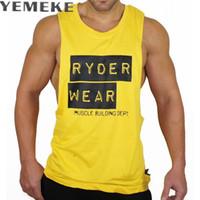 gelb tank top herren großhandel-YEMEKE Tank Tops Kleidung Unterhemd lässig fitness print Bodybuilding Mens lässig ärmellose Baumwollweste TOP weiß gelb schwarz # 379765