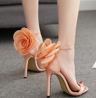 ingrosso scarpe di nozze rosa arancione-scarpe di design di lusso arancione rosa raso floreale scarpe da damigella scarpe da sposa taglia 35 a 40