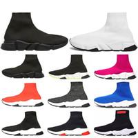 zapatillas deportivas de mujer al por mayor-Speed trainer marca de lujo Zapatillas deportivas tipo calcetín de moda 2019 para hombre mujer Zapatos negro blanco Zapatillas de running de hombre planas calzado casual sock shoes
