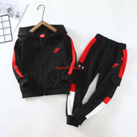 Wholesale Boy set children designer clothing zipper closed hoodie stitching overalls cotton fabric comfortable men and women with the same suit