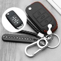 Wholesale leather case for flip key for sale - Group buy Car Key Case Real Leather Flip Remote Fob Shell Cover Keychain Keys Bag for Changan CS75 EADO CS35 RAETON CS15 V3 V5 V7