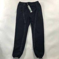 calças de algodão preto casual homens venda por atacado-2019 homens moletom de cinto de nylon em preto / cinza de alta qualidade slim fit calças de algodão streetwear