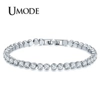 Wholesale umode bracelets for sale - Group buy UMODE New Women Fashion Silver Color Bracelets Luxury Round Cubic Zirconia Bracelet for Women Wedding Jewelry Gifts UB0175A