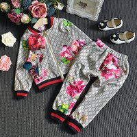 Wholesale baby kids leather clothing for sale - Group buy Boy Girl Fashion Tracksuit Baby Autumn Floral Clothes Set Kids clothing Long Sleeve Top Flowers Pants Suits