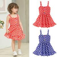 deri askılar toptan satış-Bebek Gökkuşağı Çizgili Dot Elbise kız Sevimli Parti Suspender Etek Yaz Sling Plaj Elbiseler Çocuk Kız Giyim T-TA778