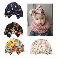 Wholesale baby summer accessories online - New design Europe US baby bow knot flower printed hedging cap cute boy girl hair accessories cotton