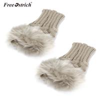 vrais gants de fourrure de lapin achat en gros de-Gants d'autruche gratuits femmes hiver gants de fourrure chaude mitaines Guantes Femme 2019 fille poignet Fingerless Faux A3120