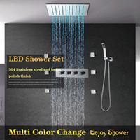 ingrosso getti del corpo della doccia di pioggia-Telecomando Multi Color LED Rain Shower con luci con Doccetta 6 Body Jet Massage caldo freddo Mixer Bagno Soffione doccia Set testa