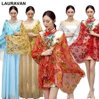 xales de lantejoulas vermelhas venda por atacado-Mulheres longo borla ouro prata red lace lantejoulas xale para cheongsam dress envoltório desempenho bordado casamento