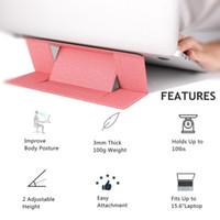 tragbare laptophalter großhandel-Tragbare unsichtbare Laptop-Ständer Halter ultradünne nahtlos abnehmbare einstellbare Notebook Riser Klapphalterung für Apple MacBook Laptop