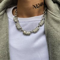 Wholesale thick metal collar resale online - Youvanic Punk Hip hop Thick Metal Pendant Choker Necklace For Women Men Personalized Long Rock Chain Fashion Jewelry Collar