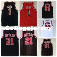 ingrosso maggiordomo nero rosso-Uomini # 1 dr Jersey, 100% cuciti all'ingrosso economici di alta qualità # 21 Jimmy Butler Jersey, nero rosso Stripe Jersey di pallacanestro Ncaa