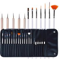 nail polish art pens toptan satış-20 adet Nail Art Design kalem Fırçalar Seti Süsleyen Boyama Çizim ile Lehçe Kalem Araçları Kiti deri çanta