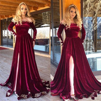 Wholesale velvet african fashion dresses for sale - Group buy Burgundy Velvet African Evening Gowns Long Sleeves Formal Dubai Arabic High Side Split Prom Party Dress Custom robe de mariée