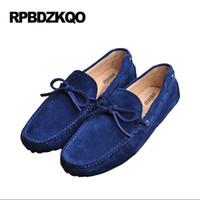 zapatillas de gamuza azul al por mayor-Red Driving Boat Casual Comfort New Blue Orange Soft transpirable 2017 de gamuza mocasines hombres Slip-ons zapatos otoño primavera # 326901