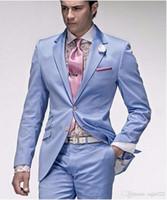 costumes bleu clair pour hommes achat en gros de-Dernier smokings à la mode garçons d'honneur garçons deux boutons bleu clair revers revers meilleur costume de mariage Blazer costumes pour hommes (veste + pantalon + cravate