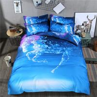 постельное белье для лошадей оптовых-3 шт./компл. Blue Fantasy Horse 3D постельные принадлежности печатных пододеяльник Twin полный Королева King Size простыня