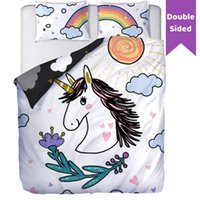 Wholesale cute black white bedding for sale - Group buy White Rainbow Unicorn Floral Reversible Bedding Kids Girls Cartoon Animal Bed Set Cute Horse Gifts Stars Fantasy Teens Duvet Cover Pieces