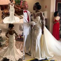ingrosso abito nudo nero di tulle-Abiti da sposa neri da ragazza Nigeriano africano di lusso in rilievo di cristallo staccabile treno trasparente manica lunga sirena senza schienale abito da sposa