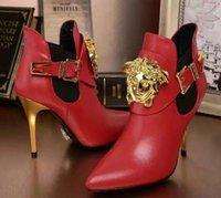 botas de couro simples venda por atacado-Mulheres curto botas de Couro Genuíno Clássico de Luxo de Metal fivela cinta marca de moda original Sexy fino salto alto Simples clássico ankle boots