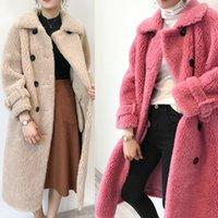 ingrosso seni naturali pieni-2019 donne cappotto invernale giacche a vento lana naturale pelliccia di agnello di pecora ecopelle lungo trench doppio petto giacca T191104