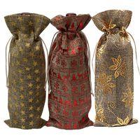 bolsa para la cena de boda al por mayor-Bolsas para botellas de vino de yute Champaña Vino a ciegas Embalaje Bolsas de regalo Rústico Hesse Navidad Cena de boda Mesa Decorar EEA226