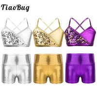 Wholesale bra kids girls resale online - Kids Girls Shiny Sequins Metallic Bra Crop Tops with High Waist Shorts for Gymnastics Ballet Jazz Stage Performance Dancewear