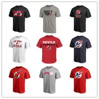 fan new jersey großhandel-New-Jersey Teufel-Hockey-Jersey der Männer lockert Oberseiten-T-Stücke Markenart- und weiseluxuslustige rote Kurzhülse im Freienabnutzung auf, die freies Verschiffen Logos druckte