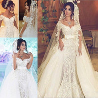 Wholesale wedding sweep tiered dresses resale online - Gorgeous Overskirts Wedding Dresses With Detachable Train Pearls Mermaid Bridal Gowns Lace Dubai Wedding Dress Custom Made