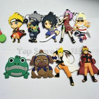 zincir anahtar anime naruto toptan satış-Naruto karikatür karakter comics naruto anahtarlık pvc anime figürü 3d çift yan anahtarlık anahtarlık çocuk oyuncak anahtarlık biblo hediye