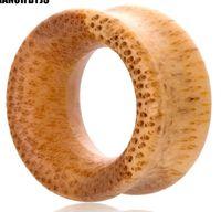 wood plugs body jewelry 도매-대나무 나무 육체 터널 귀 플러그 확장기 피어싱 귀 게이지 8-20 밀리미터 70pcs 더블 플레어 안장 Earlets 바디 쥬얼리