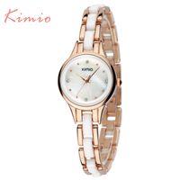 uhr kleid voller diamant großhandel-Kimio Marke Diamant Stunden Uhr weiblich Damen voller Stahl Silber Kleid Frauen Mädchen Quarzuhren Armband Armbanduhr mit Box
