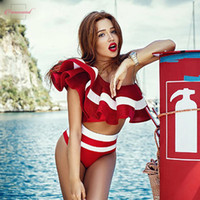 um ombro bikini swimsuit venda por atacado-2019 New Verão Swimwear One White Ruffles Swimsuit Mulheres Striped duas partes Bikini Set Preto Alças Sexy Praia Biqiuni